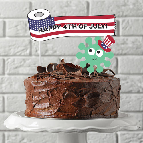 Social Distancing July 4th 2020 Cake and Cupcake Toppers - DIGITAL FILE