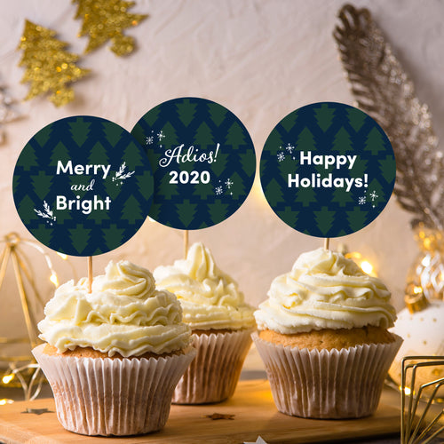 Holiday Trees Cupcake Toppers + Card Set - DIGITAL FILE-Multi-Purpose-Cheery Toppers