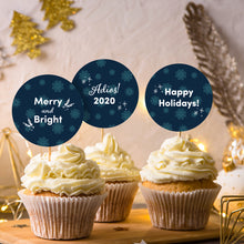 Load image into Gallery viewer, Holiday Snowflake Cupcake Toppers + Card Set - DIGITAL FILE-Multi-Purpose-Cheery Toppers