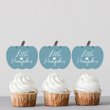 Load image into Gallery viewer, Little Pumpkin Autumn Boy Baby Shower Cupcake Toppers - DIGITAL FILES