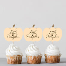 Load image into Gallery viewer, Little Pumpkin Autumn Baby Shower Cupcake Toppers - DIGITAL FILES