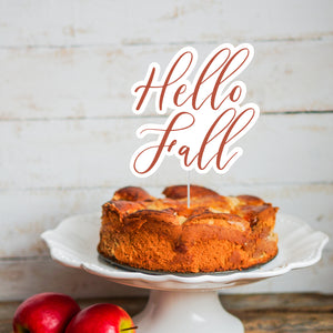 """Hello Fall"" Cake Topper - DIGITAL FILE"