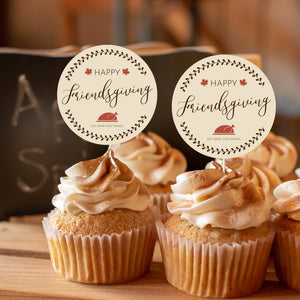 """Happy Friendsgiving"" Cake and Cupcake Topper Set - DIGITAL FILE"