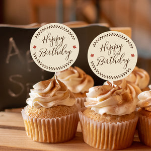 """Happy Birthday"" Fall Cake and Cupcake Topper Set - DIGITAL FILE"