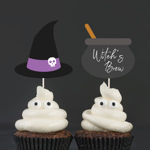 """Happy Halloween"" Pumpkin Cake and Cupcake Topper Set - DIGITAL FILE"