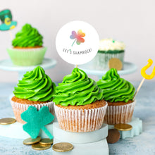 "Load image into Gallery viewer, St. Patrick's Day Lucky Rainbow Clover ""Let's Shamrock!!"" Cupcake Toppers - DIGITAL FILE"