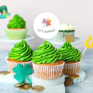 "St. Patrick's Day Lucky Rainbow Clover ""Let's Shamrock!!"" Cupcake Toppers - DIGITAL FILE"