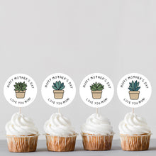 Load image into Gallery viewer, Mother's Day Succulents Cupcake Toppers and DIY Pop Up Card Kit - DIGITAL PRODUCT