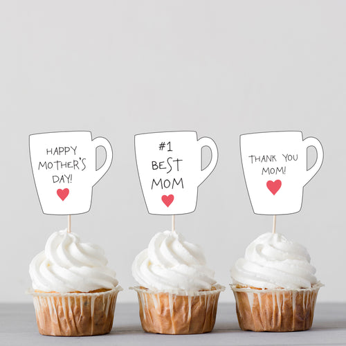 Mother's Day Mug Cup Messages Cupcake Toppers and DIY Pop Up Card Kit - DIGITAL PRODUCT