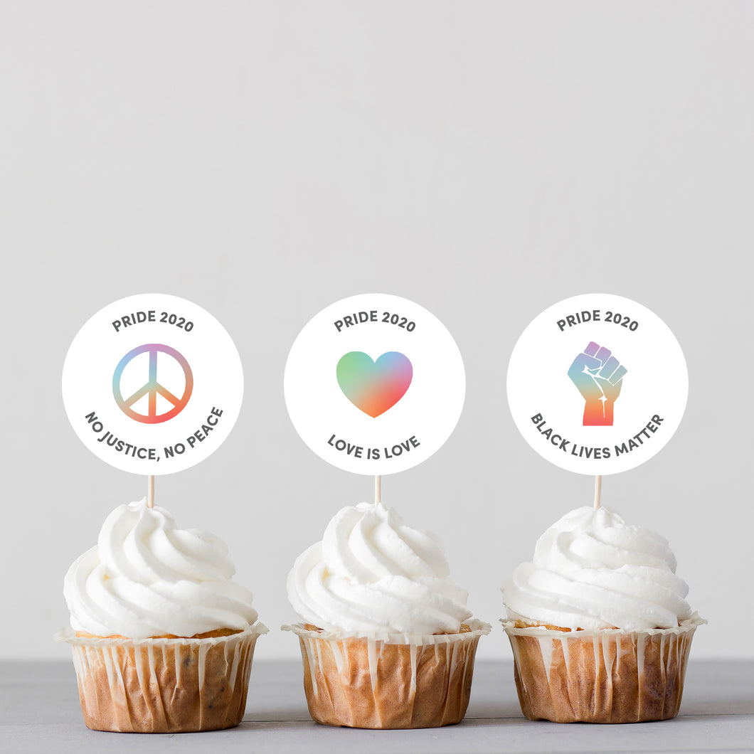 PRIDE 2020 Messages Cupcake Toppers - DIGITAL FILE