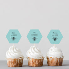 Load image into Gallery viewer, Bumblebee Baby Shower Cupcake Toppers - Blue - DIGITAL FILE