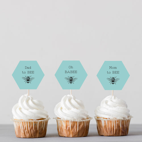 Bumblebee Baby Shower Cupcake Toppers - Blue - DIGITAL FILE