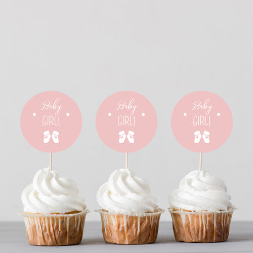 Baby Girl! Baby Shower Banner Cake Topper and Cupcake Toppers - DIGITAL FILE