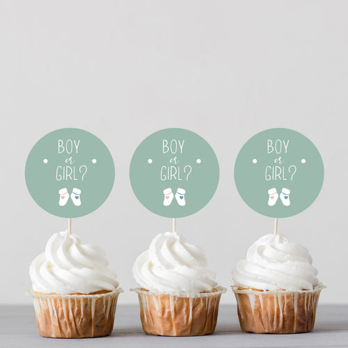 Boy or Girl? Gender Reveal Baby Shower Banner Cake Topper and Cupcake Toppers - DIGITAL FILE