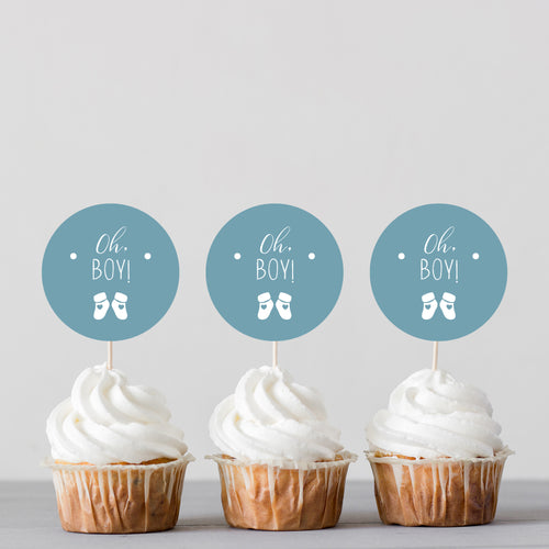 Oh Boy! Baby Shower Banner Cake Topper and Cupcake Toppers - DIGITAL FILE