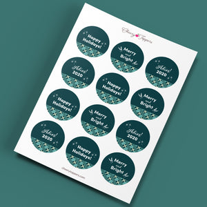 Green and Blue Plaid Cupcake Toppers + Card Set - DIGITAL FILE-Multi-Purpose-Cheery Toppers