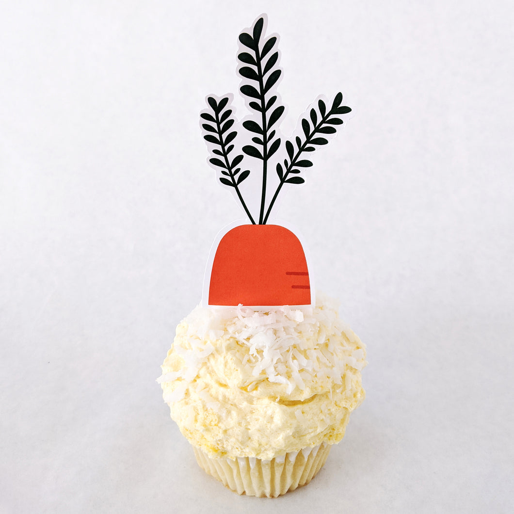 Spring Garden Carrot Cupcake Toppers (Medium) - DIGITAL FILE