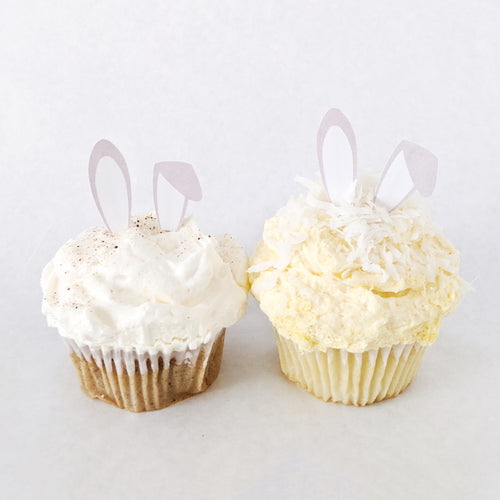 Spring Garden Bunny Ears Cupcake Toppers - DIGITAL FILE