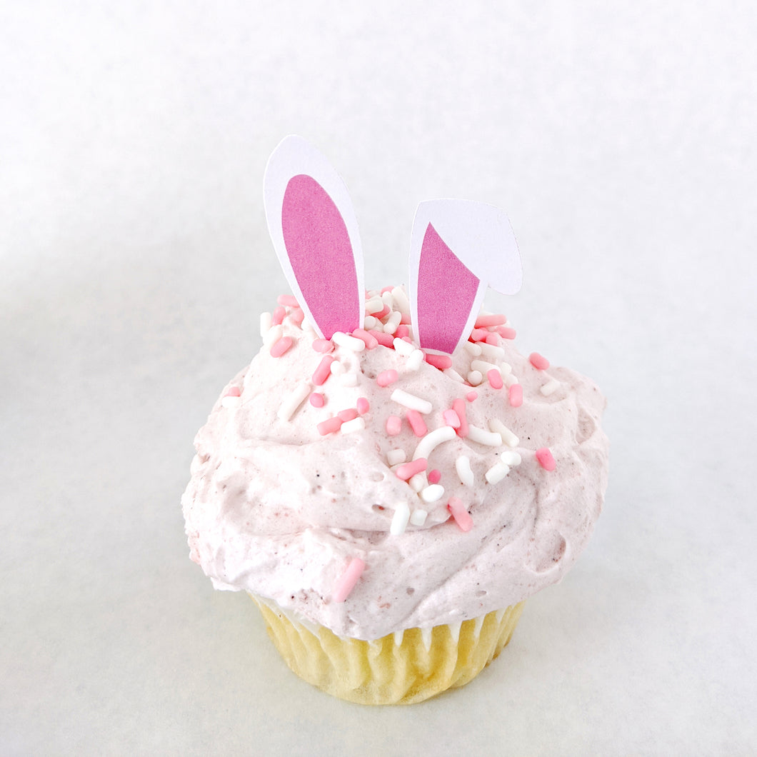 Spring Garden White Bunny Ears Cupcake Toppers - DIGITAL FILE