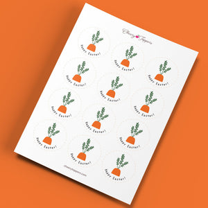 """Happy Easter"" Carrot Cupcake Toppers - DIGITAL FILE-Cheery Toppers"