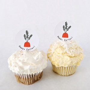 """Happy Easter"" Carrot Cupcake Toppers - DIGITAL FILE"