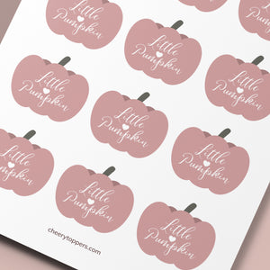 Little Pumpkin Autumn Girl Baby Shower Cupcake Toppers - DIGITAL FILES