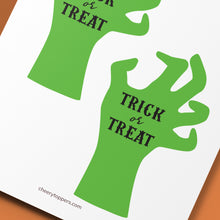 "Load image into Gallery viewer, ""Trick Or Treat"" Zombie Hand Cake and Cupcake Topper Set - DIGITAL FILE"