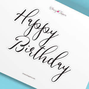 "Outlined ""Happy Birthday"" Cake Topper - DIGITAL FILE"