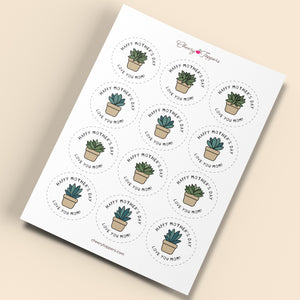 Mother's Day Succulents Cupcake Toppers and DIY Pop Up Card Kit - DIGITAL PRODUCT