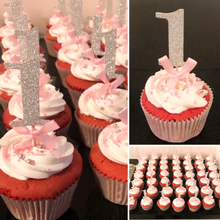 "Load image into Gallery viewer, Silver Glitter ""1"" Cupcake Toppers with Pink Bow for 1st Birthday-1st birthday-Cheery Toppers"