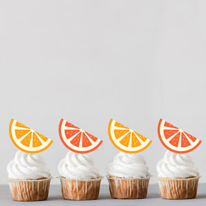 Mixed Juicy Summer Oranges Cupcake Toppers  - DIGITAL FILE