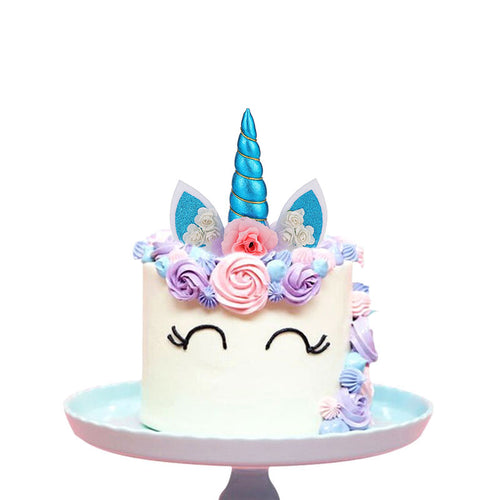Create Your Unicorn Cake Topper (Blue)-unicorn, unicorn baby shower-Cheery Toppers