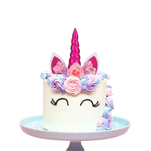 Create Your Unicorn Cake Topper (Fuchsia)-unicorn, unicorn baby shower-Cheery Toppers