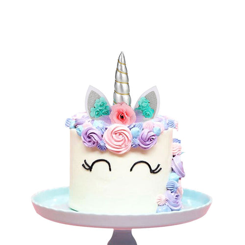 Create Your Unicorn Cake Topper (Silver)-unicorn, unicorn baby shower-Cheery Toppers