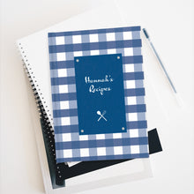 Load image into Gallery viewer, Blue Gingahm Pattern Personalized Journal - Ruled Line-Paper products-Cheery Toppers