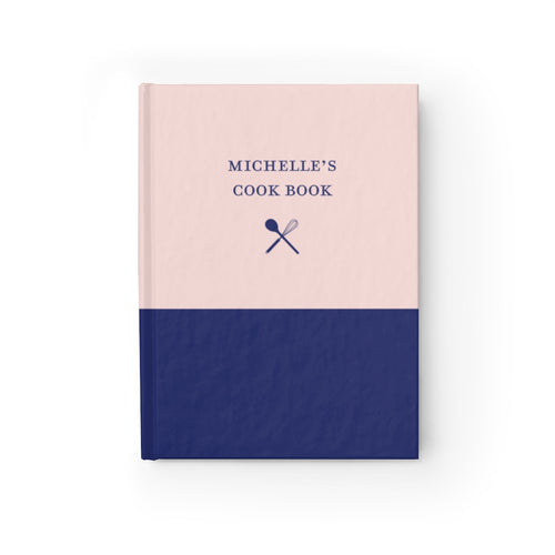 Pink and Navy Personalized Cooking Journal - Ruled Line-Paper products-Cheery Toppers