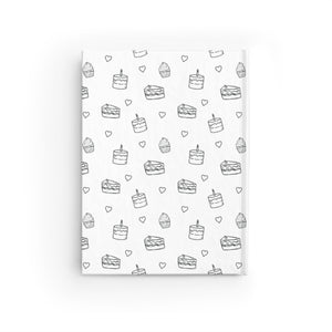Black and White Cake Print Personalized Journal - Ruled Line-Paper products-Cheery Toppers