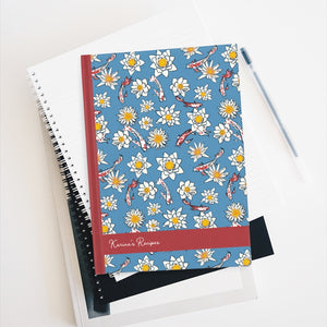 Koi Fish and Flower Personalized Recipe Journal - Ruled Line-Paper products-Cheery Toppers