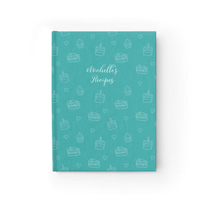Teal Cake Print Personalized Recipe Journal - Ruled Line-Paper products-Cheery Toppers