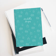 Load image into Gallery viewer, Teal Cake Print Personalized Recipe Journal - Ruled Line-Paper products-Cheery Toppers