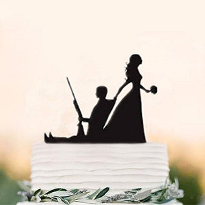 Hunting Groom and Bride Silhouette- Funny Wedding Cake Topper