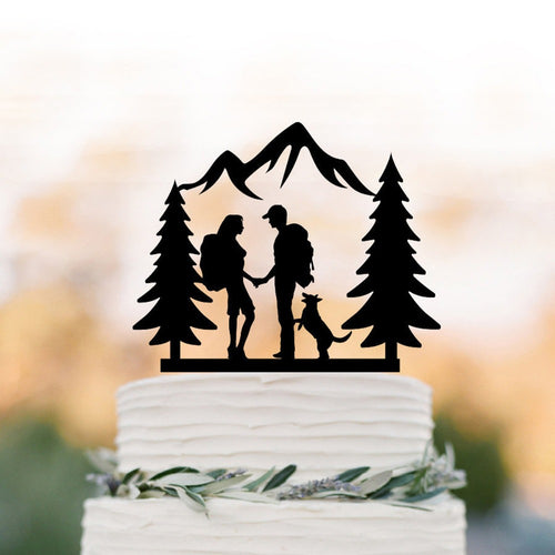 Outdoor Adventures with Dog Wedding Cake Topper