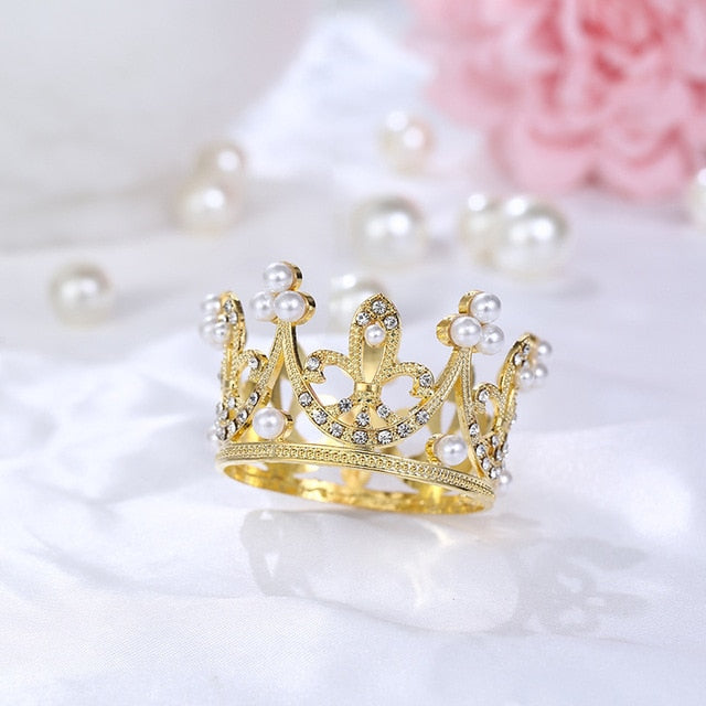 Classic Princess Crown (Silver or Gold)-Bat Mitzvah, Princess, Princess Baby Shower, Quinceanera, Sweet Sixteen-Gold-Cheery Toppers