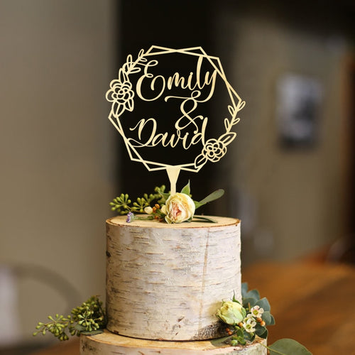 Personalized Geometric Floral Wedding Cake Topper