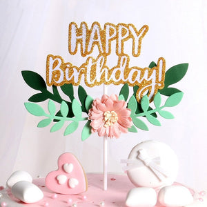 """Happy Birthday"" Tropical Flower Cake Topper-""happy birthday"", Tropical-Cheery Toppers"