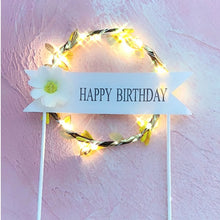 "Load image into Gallery viewer, Lighted Wreath ""Happy Birthday"" Cake Topper-banner, lighted-Blue-With LED-Cheery Toppers"