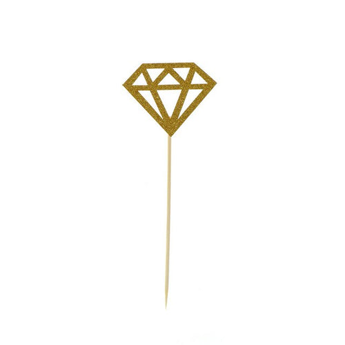 Gold Diamond Cupcake Toppers (Set of 10)-Bachelorette, Bridal Shower, Cupcake Wedding-Cheery Toppers