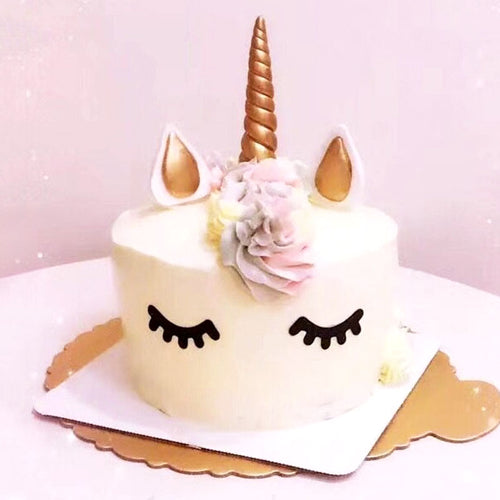 Create Your Unicorn Cake with Eyes-unicorn, unicorn baby shower-Gold-Cheery Toppers