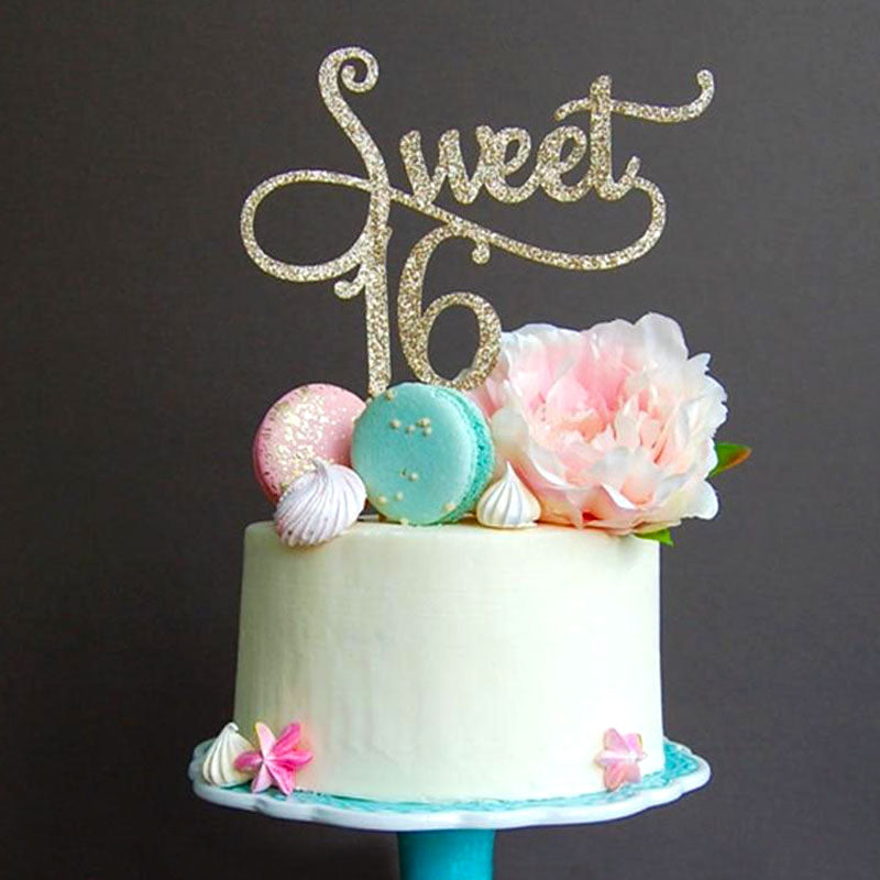 Glitter Gold Sweet 16 Cake Topper-sweet sixteen-Cheery Toppers