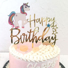 "Load image into Gallery viewer, ""Happy Birthday"" in Gold Classic Unicorn Cake Topper-""happy birthday"", unicorn-Cheery Toppers"